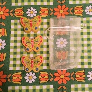 3 Vintage Butterfly Candles